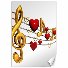 Music Notes Heart Beat Canvas 12  X 18   by Mariart