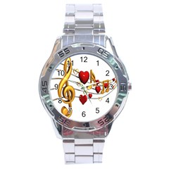 Music Notes Heart Beat Stainless Steel Analogue Watch by Mariart