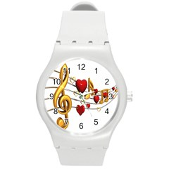 Music Notes Heart Beat Round Plastic Sport Watch (m) by Mariart