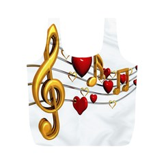 Music Notes Heart Beat Full Print Recycle Bags (m)  by Mariart