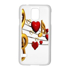 Music Notes Heart Beat Samsung Galaxy S5 Case (white) by Mariart