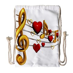 Music Notes Heart Beat Drawstring Bag (large) by Mariart