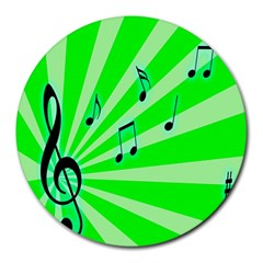 Music Notes Light Line Green Round Mousepads by Mariart