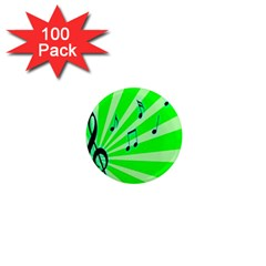 Music Notes Light Line Green 1  Mini Magnets (100 Pack)  by Mariart