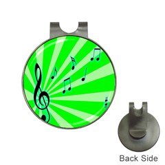 Music Notes Light Line Green Hat Clips With Golf Markers by Mariart