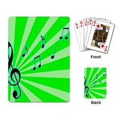 Music Notes Light Line Green Playing Card