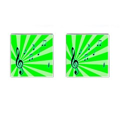 Music Notes Light Line Green Cufflinks (square)