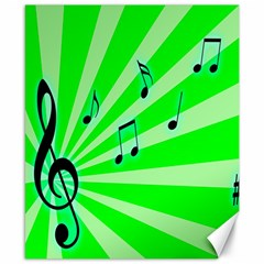 Music Notes Light Line Green Canvas 8  X 10