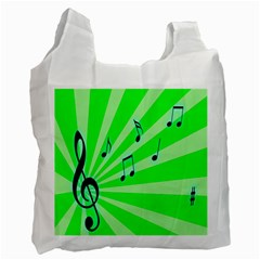 Music Notes Light Line Green Recycle Bag (one Side) by Mariart