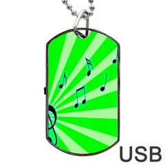 Music Notes Light Line Green Dog Tag Usb Flash (two Sides) by Mariart