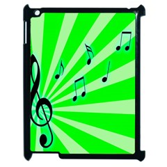 Music Notes Light Line Green Apple Ipad 2 Case (black) by Mariart