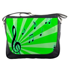 Music Notes Light Line Green Messenger Bags by Mariart