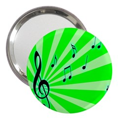 Music Notes Light Line Green 3  Handbag Mirrors by Mariart