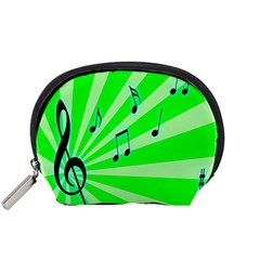 Music Notes Light Line Green Accessory Pouches (small)  by Mariart