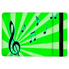 Music Notes Light Line Green Ipad Air 2 Flip by Mariart