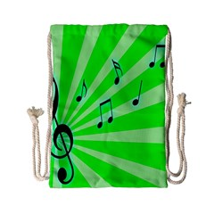 Music Notes Light Line Green Drawstring Bag (small) by Mariart