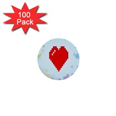 Red Heart Love Plaid Red Blue 1  Mini Buttons (100 Pack)