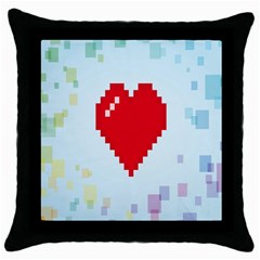 Red Heart Love Plaid Red Blue Throw Pillow Case (black) by Mariart