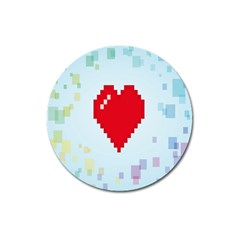 Red Heart Love Plaid Red Blue Magnet 3  (round) by Mariart