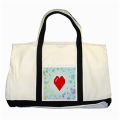 Red Heart Love Plaid Red Blue Two Tone Tote Bag by Mariart