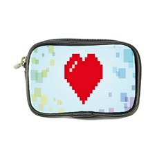 Red Heart Love Plaid Red Blue Coin Purse by Mariart