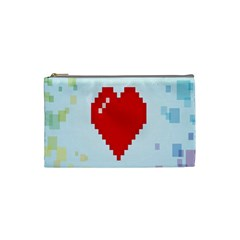 Red Heart Love Plaid Red Blue Cosmetic Bag (small)  by Mariart