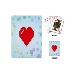 Red Heart Love Plaid Red Blue Playing Cards (mini)  by Mariart
