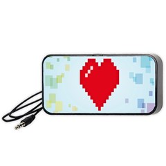 Red Heart Love Plaid Red Blue Portable Speaker (black) by Mariart