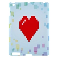 Red Heart Love Plaid Red Blue Apple Ipad 3/4 Hardshell Case by Mariart
