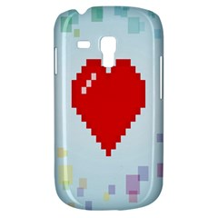 Red Heart Love Plaid Red Blue Galaxy S3 Mini by Mariart