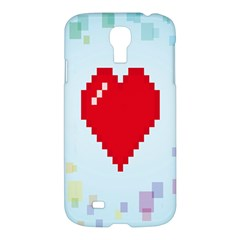 Red Heart Love Plaid Red Blue Samsung Galaxy S4 I9500/i9505 Hardshell Case by Mariart