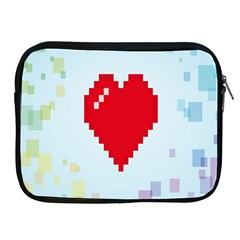 Red Heart Love Plaid Red Blue Apple Ipad 2/3/4 Zipper Cases by Mariart
