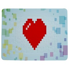 Red Heart Love Plaid Red Blue Jigsaw Puzzle Photo Stand (rectangular) by Mariart