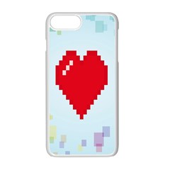 Red Heart Love Plaid Red Blue Apple Iphone 7 Plus White Seamless Case