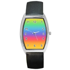 Plaid Rainbow Retina Green Purple Red Yellow Barrel Style Metal Watch by Mariart