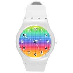 Plaid Rainbow Retina Green Purple Red Yellow Round Plastic Sport Watch (m) by Mariart