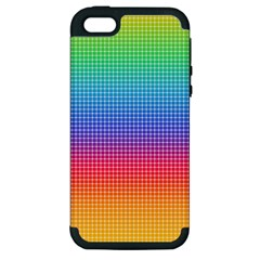 Plaid Rainbow Retina Green Purple Red Yellow Apple Iphone 5 Hardshell Case (pc+silicone) by Mariart
