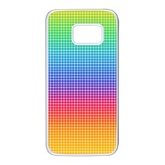 Plaid Rainbow Retina Green Purple Red Yellow Samsung Galaxy S7 White Seamless Case by Mariart