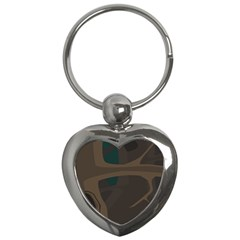 Tree Jungle Brown Green Key Chains (heart)  by Mariart