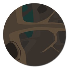 Tree Jungle Brown Green Magnet 5  (round) by Mariart