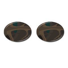Tree Jungle Brown Green Cufflinks (oval) by Mariart