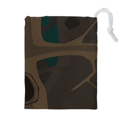 Tree Jungle Brown Green Drawstring Pouches (extra Large)