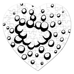 Splash Bubble Black White Polka Circle Jigsaw Puzzle (heart) by Mariart