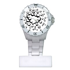 Splash Bubble Black White Polka Circle Plastic Nurses Watch