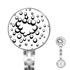 Splash Bubble Black White Polka Circle Stainless Steel Nurses Watch by Mariart