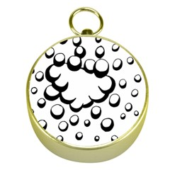 Splash Bubble Black White Polka Circle Gold Compasses