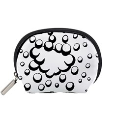 Splash Bubble Black White Polka Circle Accessory Pouches (small)  by Mariart
