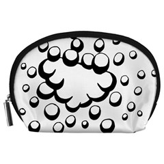 Splash Bubble Black White Polka Circle Accessory Pouches (large)  by Mariart