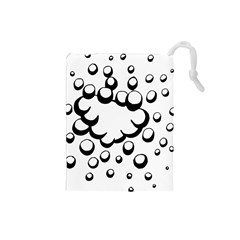 Splash Bubble Black White Polka Circle Drawstring Pouches (small)  by Mariart