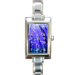 Neon Light Line Vertical Blue Rectangle Italian Charm Watch